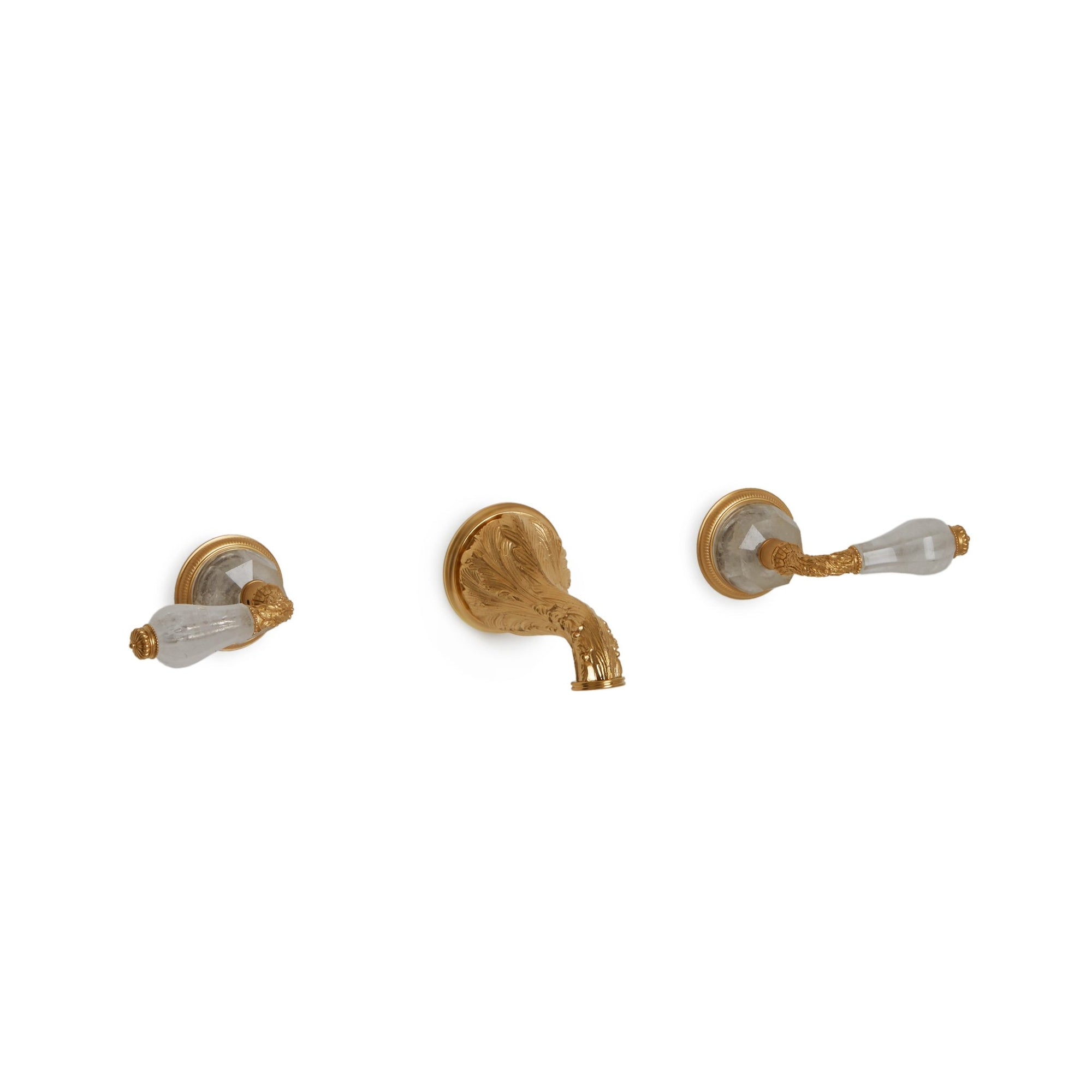 1030WBS819-RKCR-GP Sherle Wagner International Semiprecious Knurled Knob Wall Mount Faucet Set in Gold Plate metal finish with Rock Crystal inserts