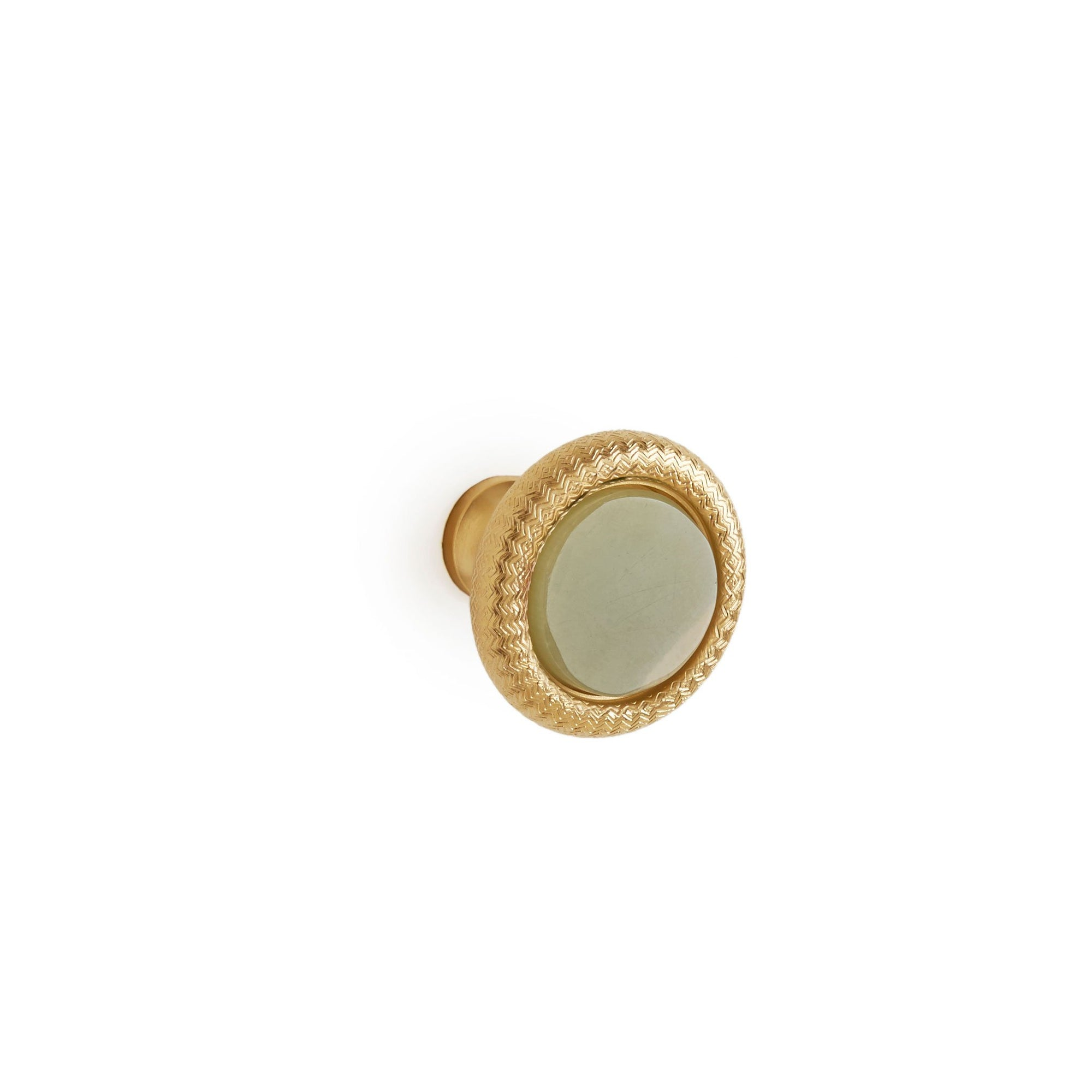 1034-11/4-GROX-GP Sherle Wagner International Semiprecious Green Onyx Knurled Cabinet & Drawer Knob in Gold Plate metal finish