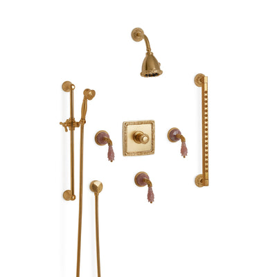 Sherle Wagner International Semiprecious Leaves High Flow Thermostatic Shower System in Gold Plate metal finish with Rose Quartz inserts