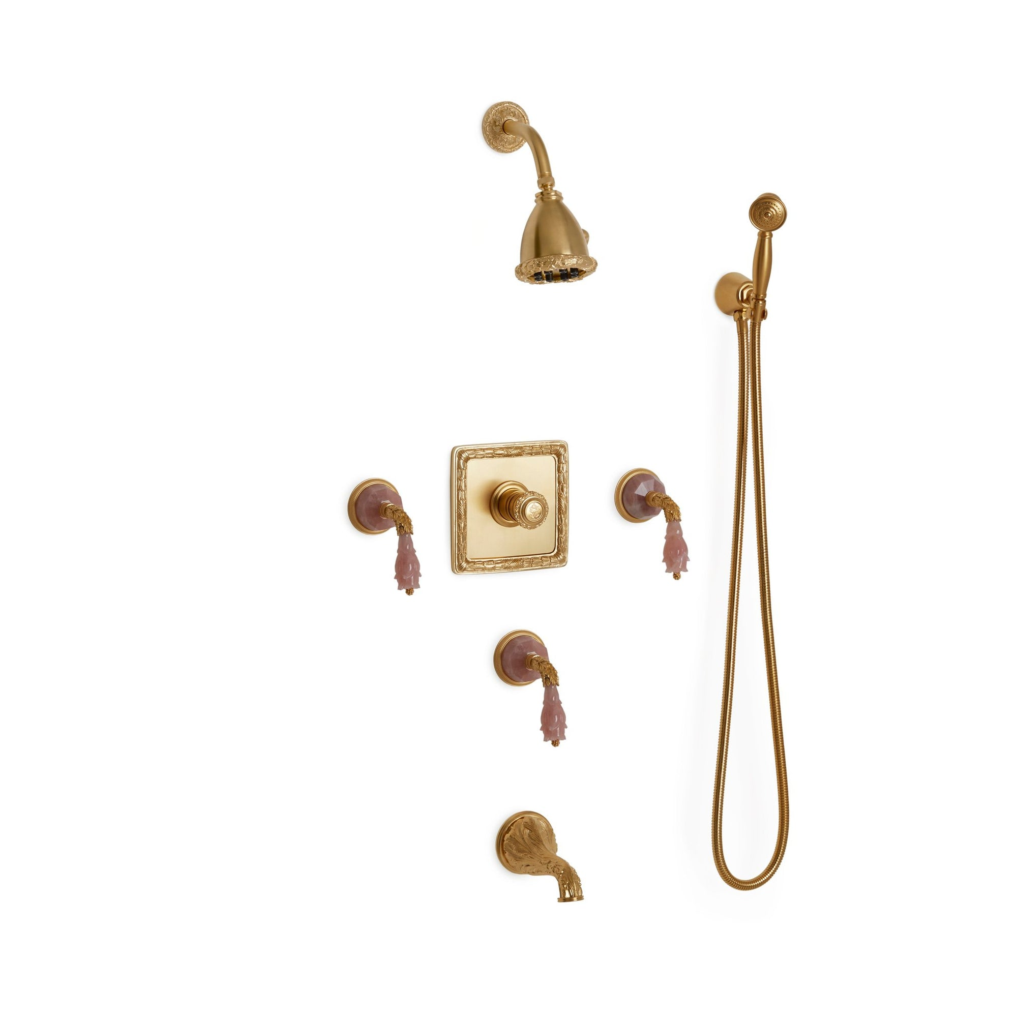 Sherle Wagner International Semiprecious Leaves High Flow Thermostatic Shower and Tub System in Gold Plate metal finish with Rose Quartz inserts