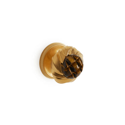 1044DOR-BRTI-GP Sherle Wagner International Brown Tiger Eye Insert Leaves Door Knob in Gold Plate metal finish