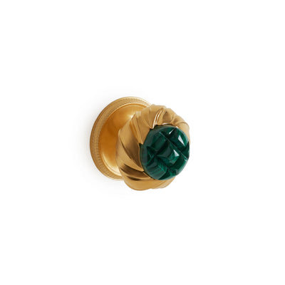 1044DOR-MALA-GP Sherle Wagner International Malachite Insert Leaves Door Knob in Gold Plate metal finish