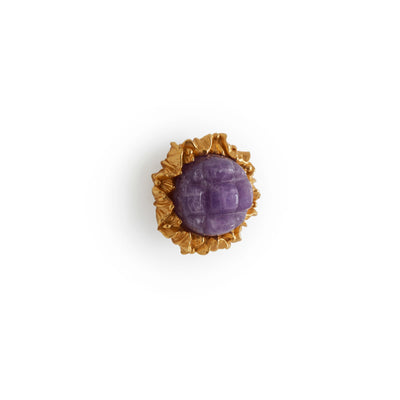 1047-AMET-GP Sherle Wagner International Amethyst Insert Leaves Cabinet & Drawer Knob in Gold Plate metal finish