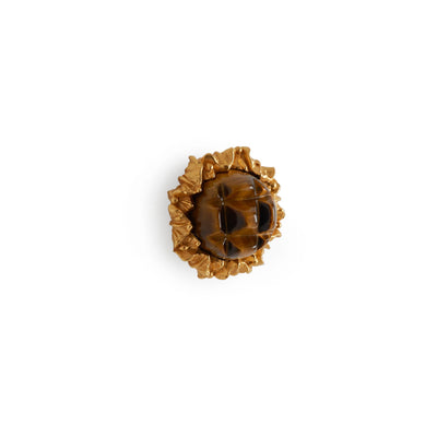 1047-BRTI-GP Sherle Wagner International Brown Tiger Eye Insert Leaves Cabinet & Drawer Knob in Gold Plate metal finish