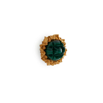 1047-MALA-GP Sherle Wagner International Malachite Insert Leaves Cabinet & Drawer Knob in Gold Plate metal finish
