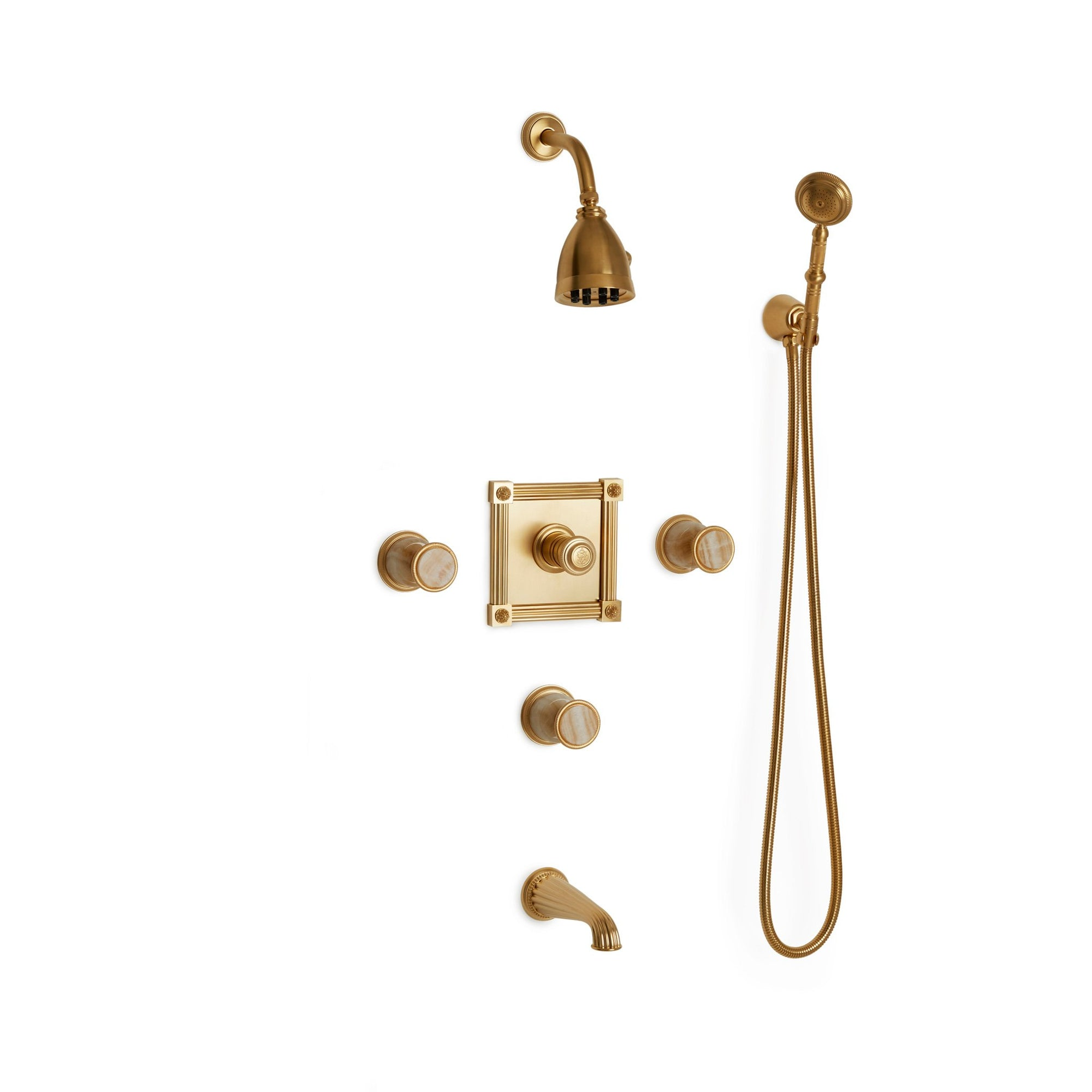 Sherle Wagner International Stone Knurled High Flow Thermostatic Shower and Tub System in Gold Plate metal finish with Honey Onyx inserts