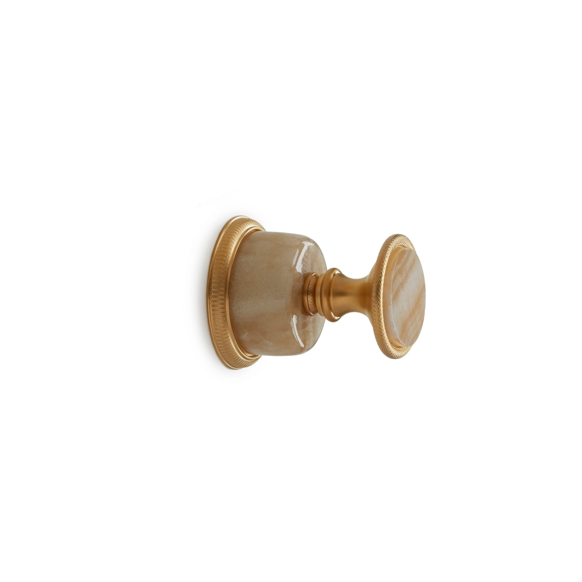 1065KB-ESC-HNOX-GP Sherle Wagner International Honey Onyx Insert Knurled Knob Volume Control and Diverter Trim in Gold Plate metal finish