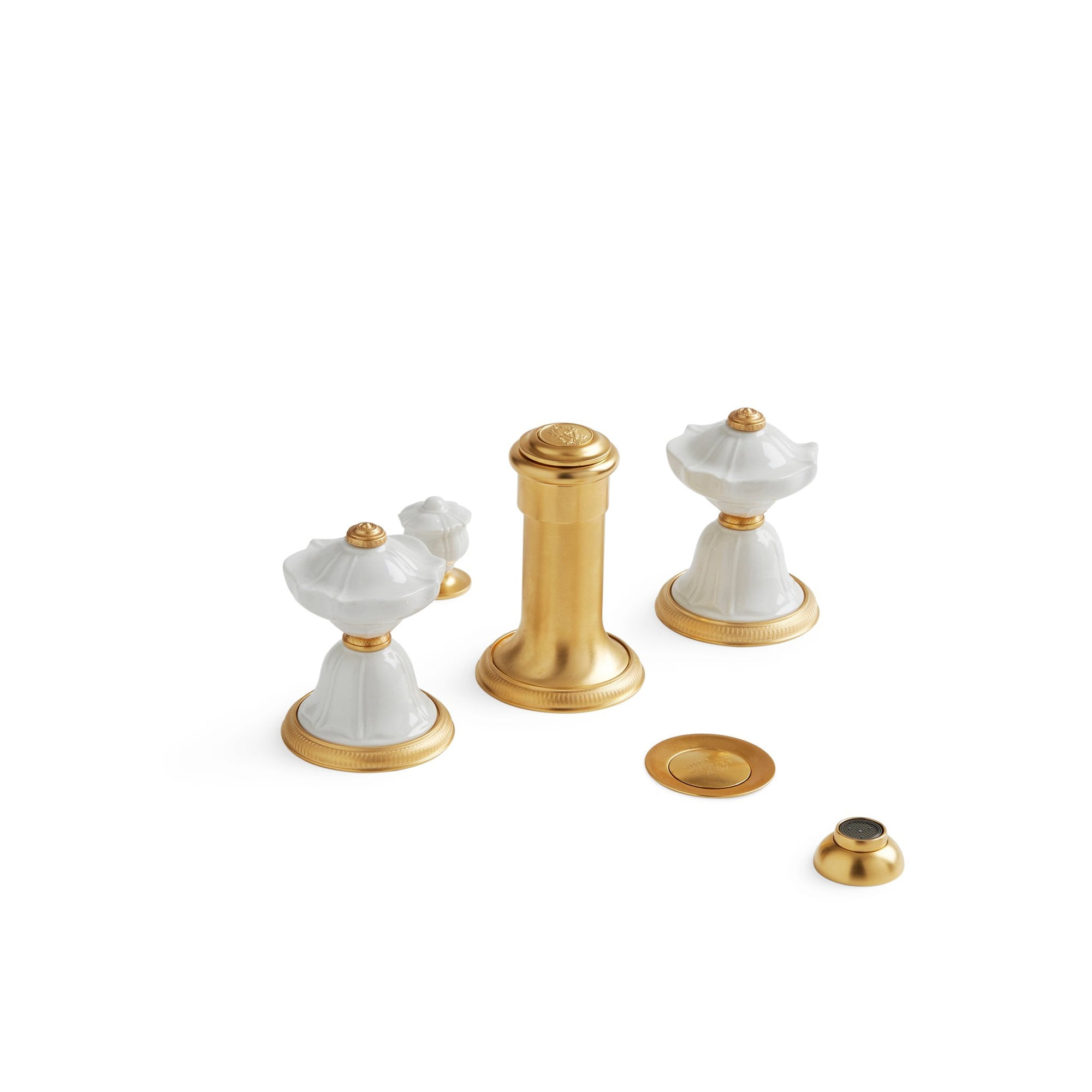 1097BDT-4H-03WH-GP Sherle Wagner International Scalloped Ceramic Knob Bidet Set in Gold Plate metal finish