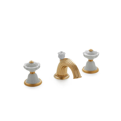 1097BSN813-03WH-GP Sherle Wagner International Scalloped Ceramic Knob Faucet Set in Gold Plate metal finish with White Glaze inserts