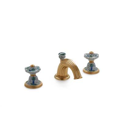 1097BSN813-107A-WH-GP Sherle Wagner International Scalloped Ceramic Knob Faucet Set in Gold Plate metal finish in Artichoke painted on White