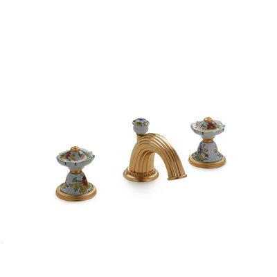 1097BSN813-56GR-WH-GP Sherle Wagner International Scalloped Ceramic Knob Faucet Set in Gold Plate metal finish in Mums Green painted on White