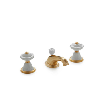 1097BSN818-03WH-GP Sherle Wagner International Scalloped Ceramic Knob Faucet Set in Gold Plate metal finish with White Glaze inserts