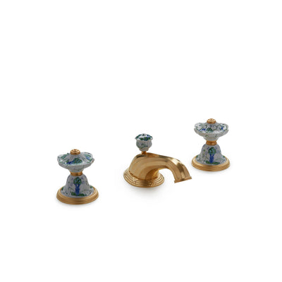 1097BSN818-107A-WH-GP Sherle Wagner International Scalloped Ceramic Knob Faucet Set in Gold Plate metal finish in Artichoke painted on White