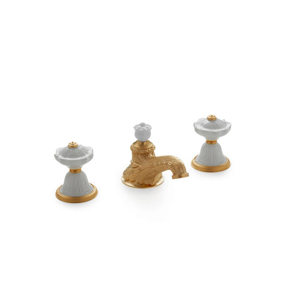 1097BSN819-03WH-GP Sherle Wagner International Scalloped Ceramic Knob Faucet Set in Gold Plate metal finish with White Glaze inserts