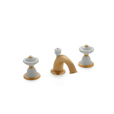 1097BSN821-03WH-GP Sherle Wagner International Scalloped Ceramic Knob Faucet Set in Gold Plate metal finish with White Glaze inserts