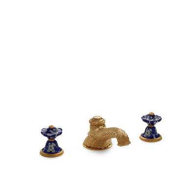 1097DKT819-18BL-WH-GP Sherle Wagner International Scalloped Ceramic Knob Deck Mount Tub Set in Gold Plate metal finish with Ming Blossom Blue on White inserts