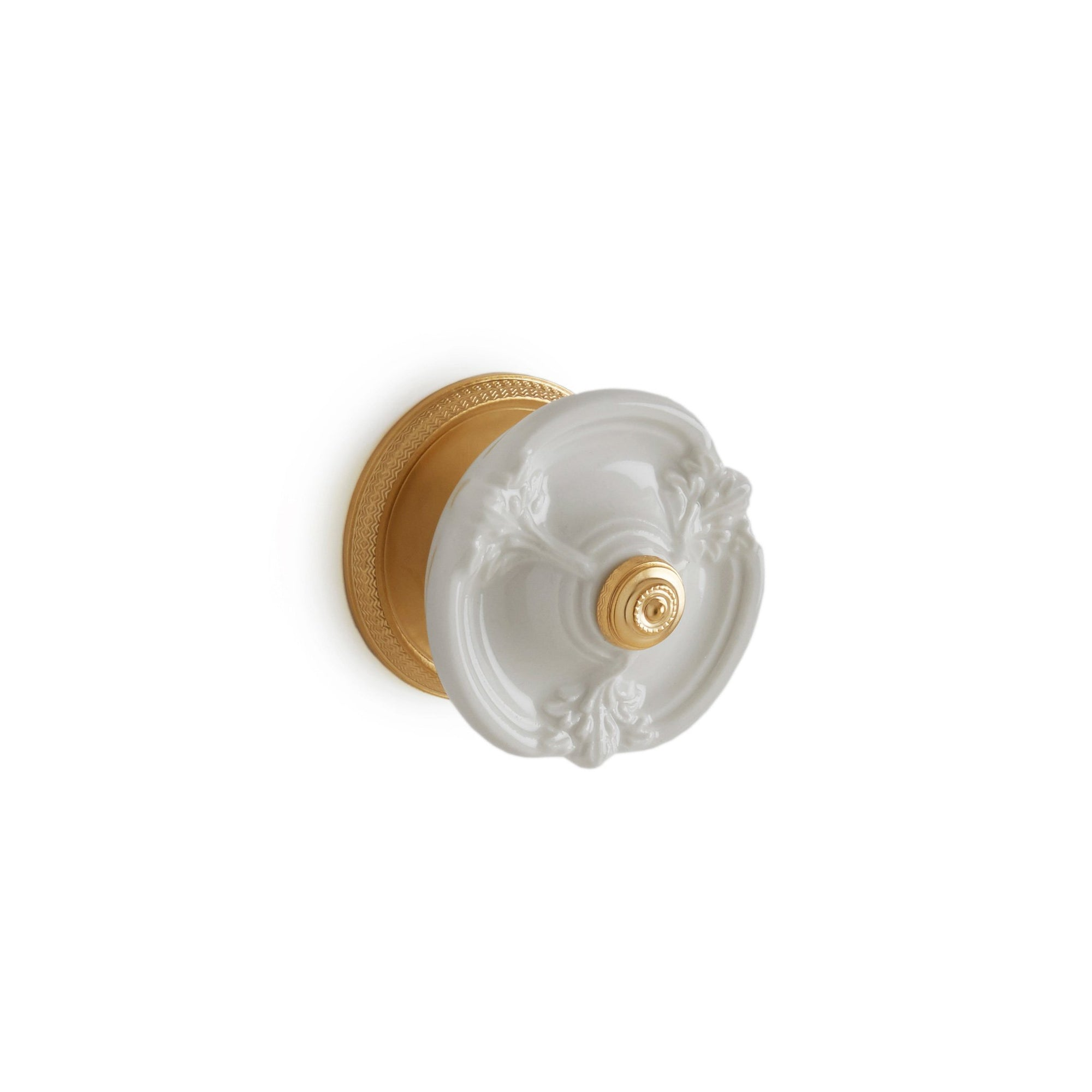 1097DOR-04WH-GP Sherle Wagner International Provence Ceramic Door Knob in Gold Plate metal finish with White Glaze inserts