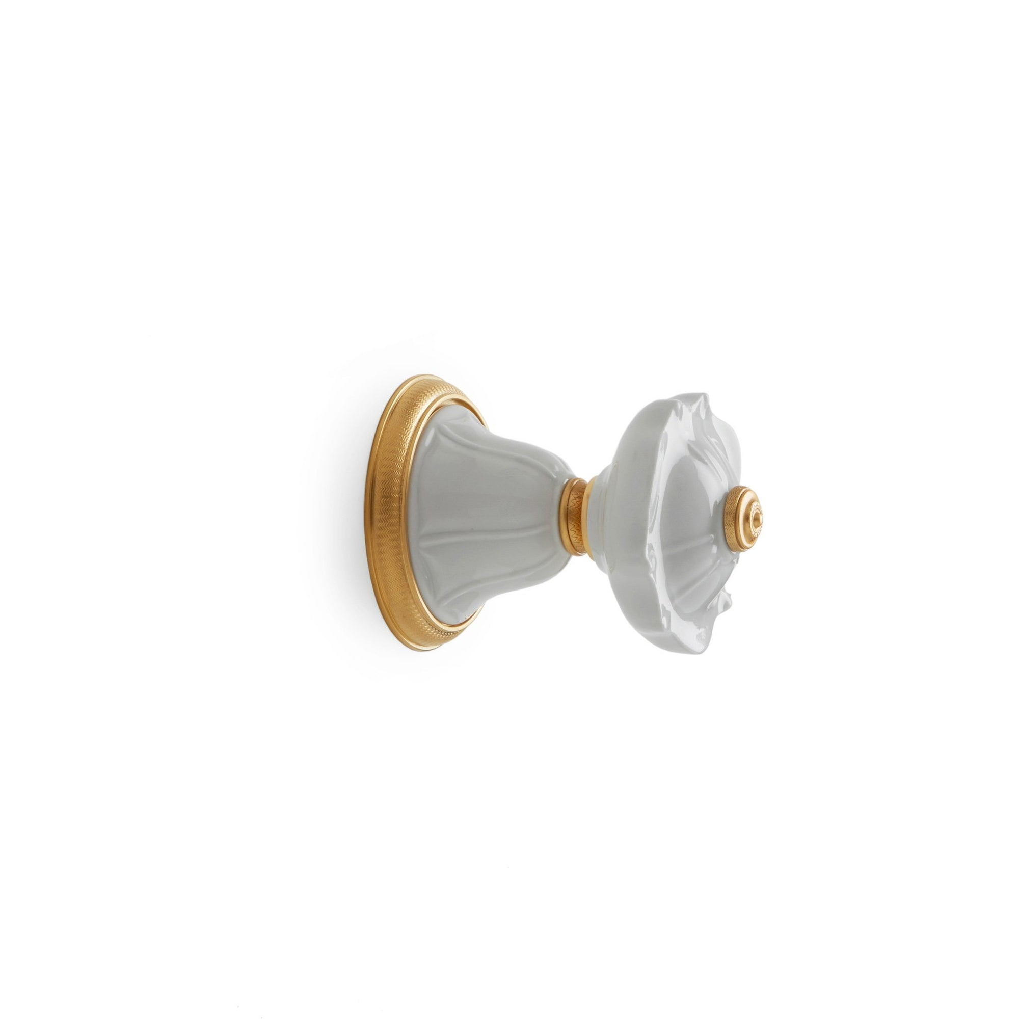 1097KB-ESC-03WH-GP Sherle Wagner International Scalloped Ceramic Knob Volume Control and Diverter Trim in Gold Plate metal finish with White Glaze inserts
