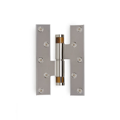 2000-HNGE-BRTI-HD-ZZ-CP Sherle Wagner International Brown Tiger Eye Insert Modern Cylindrical Paumelle Hinge in Polished Chrome metal finish