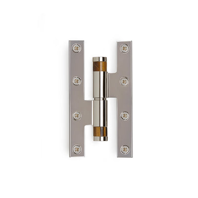 2000-HNGE-BRTI-ZZ-CP Sherle Wagner International Brown Tiger Eye Insert Modern Cylindrical Paumelle Hinge in Polished Chrome metal finish