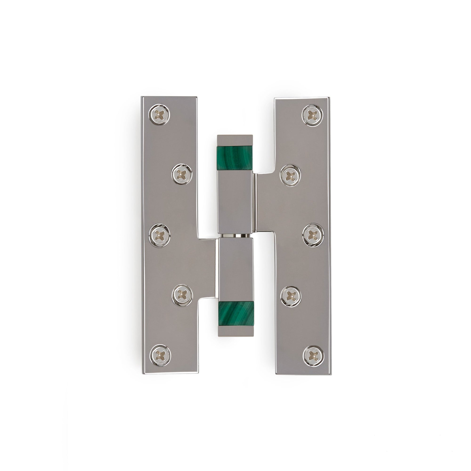 2002-HNGE-SQ-MALA-HD-ZZ-CP Sherle Wagner International Malachite Insert Modern Square Paumelle Hinge in Polished Chrome metal finish