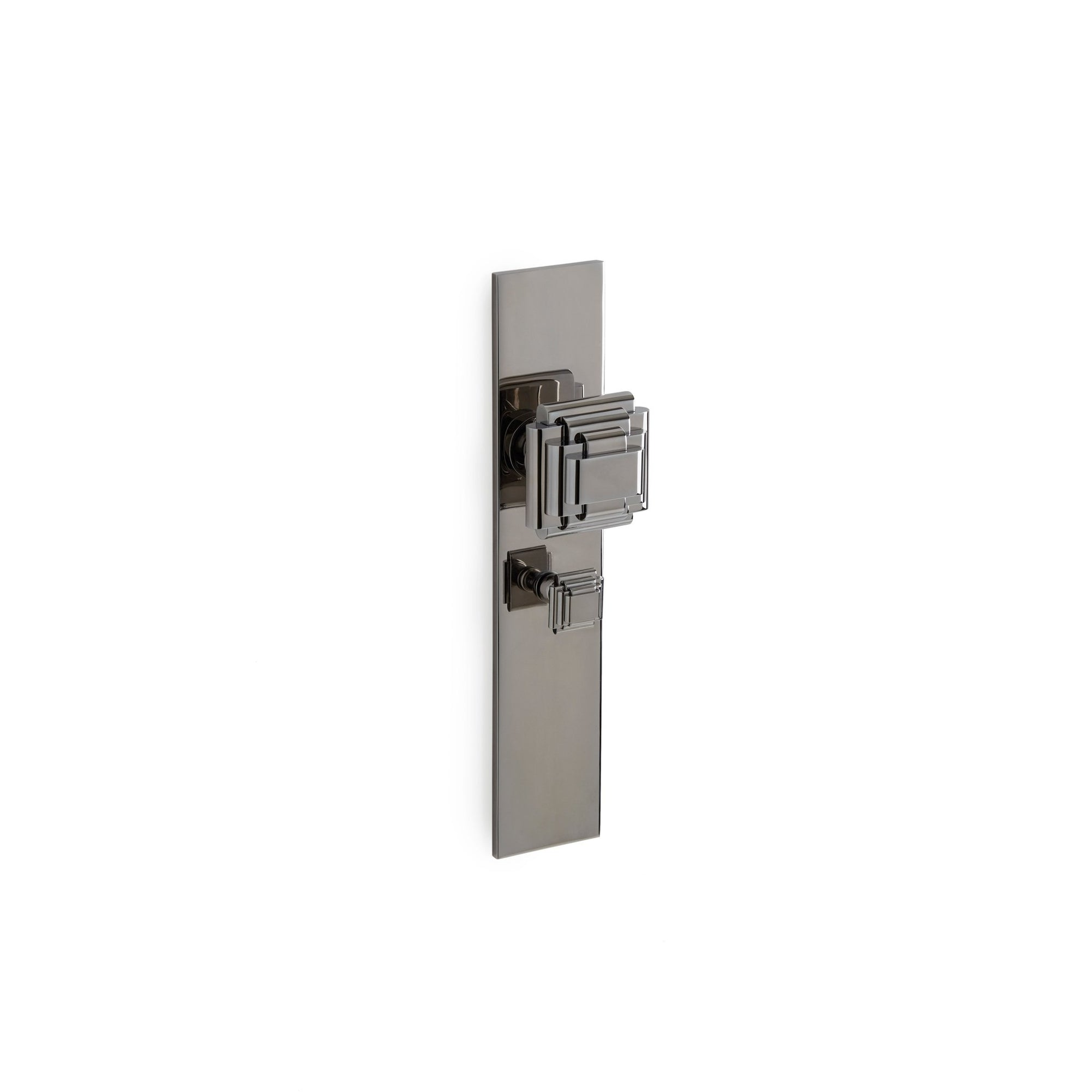 Modern with Nouveau Knob Door Set