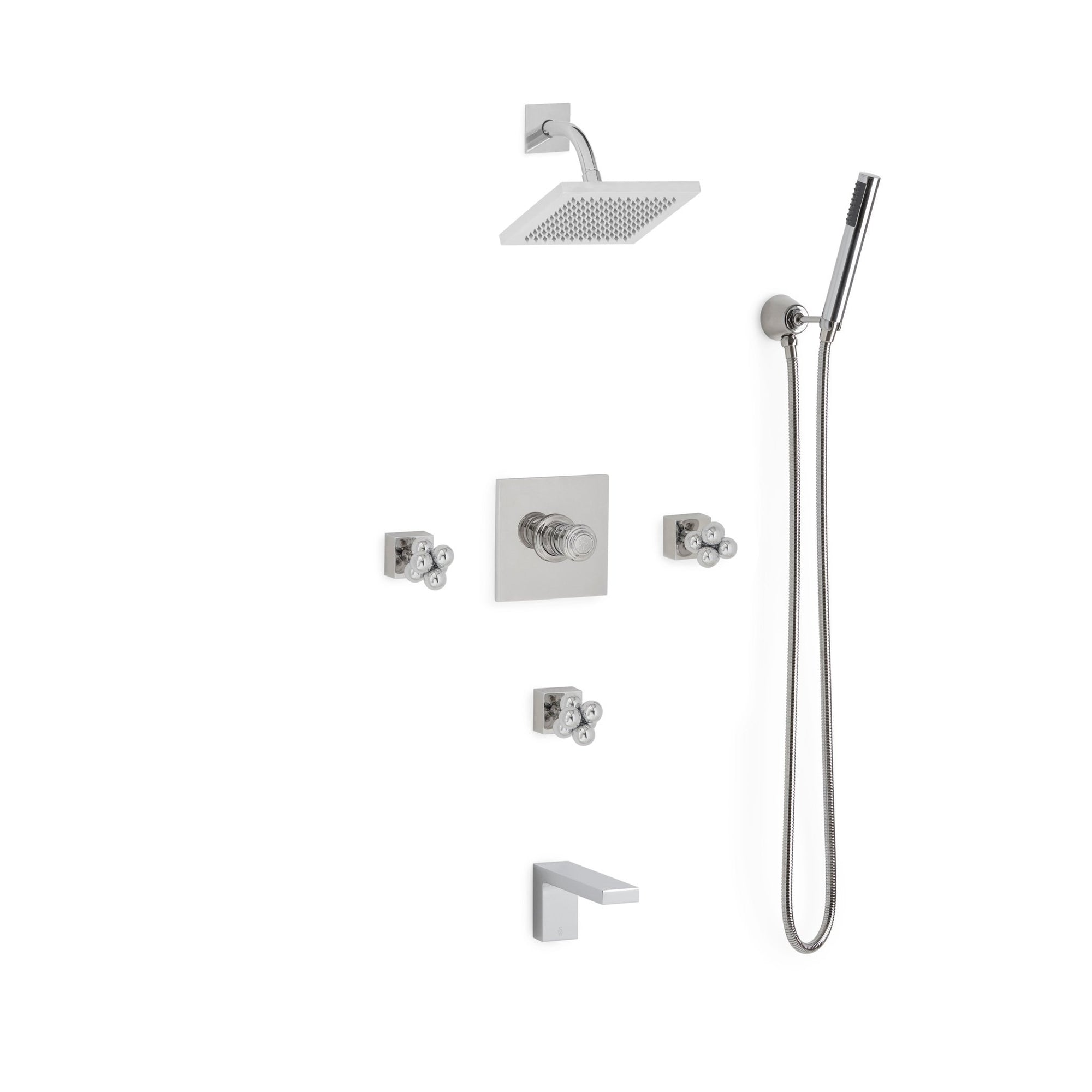Sherle Wagner International Molecule Modern High Flow Thermostatic Shower and Tub System in Polished Chrome metal finish