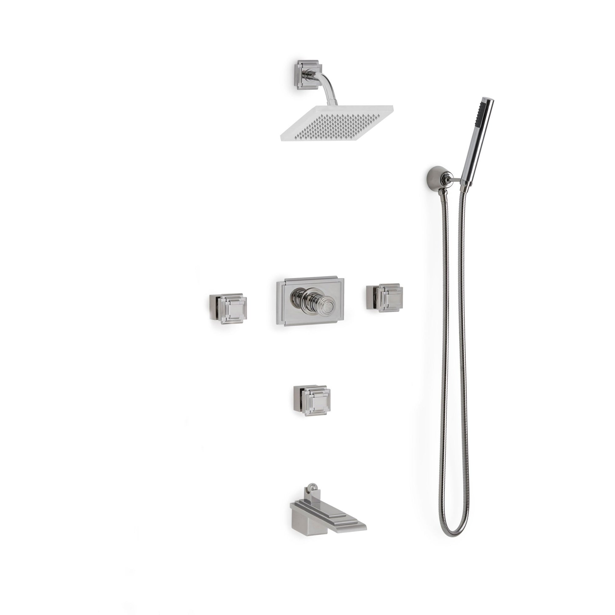Sherle Wagner International Nouveau High Flow Thermostatic Shower and Tub System in Polished Chrome metal finish