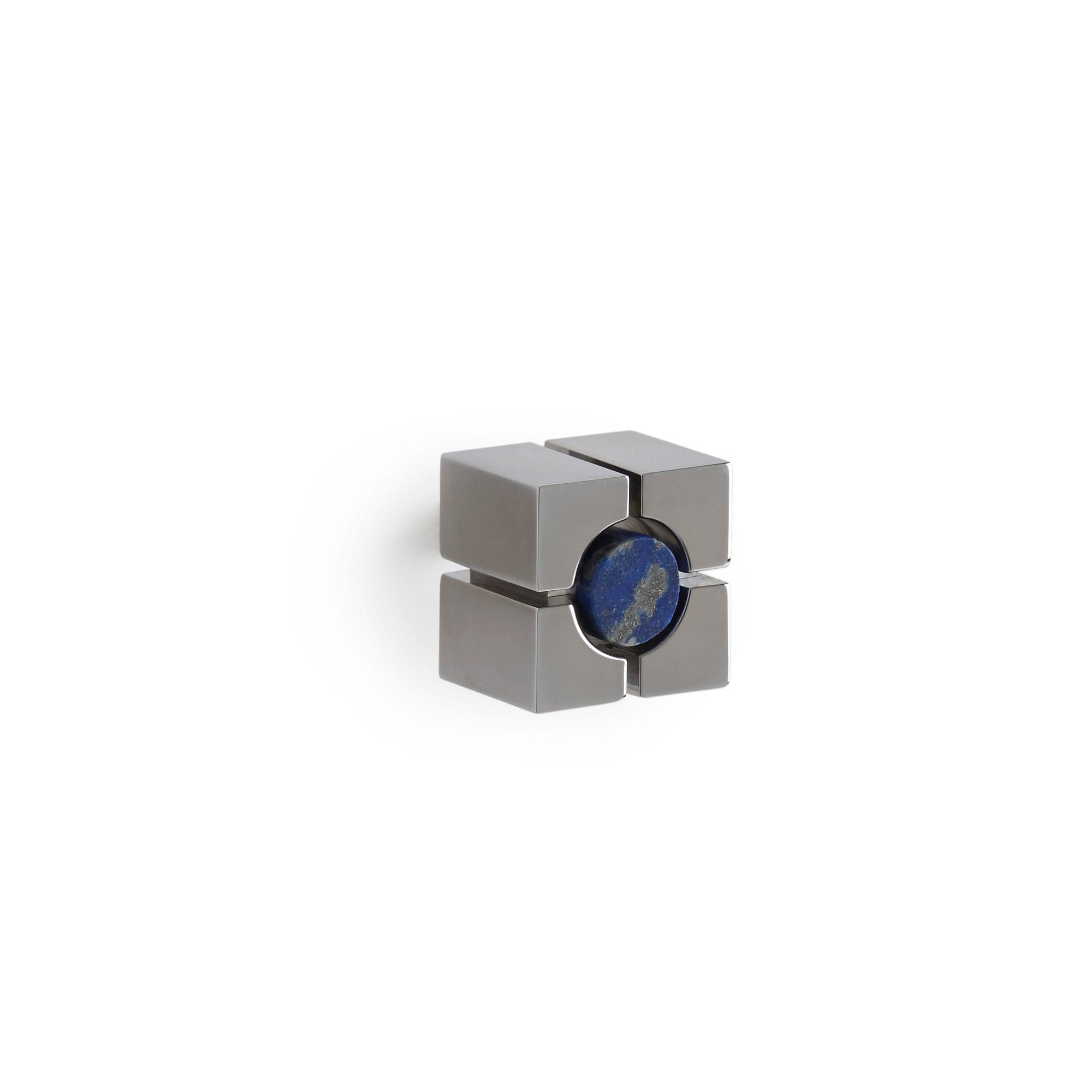 2103A-LAPI-CP Sherle Wagner International The Stone Insert Quad Cabinet & Drawer Knob in Polished Chrome metal finish