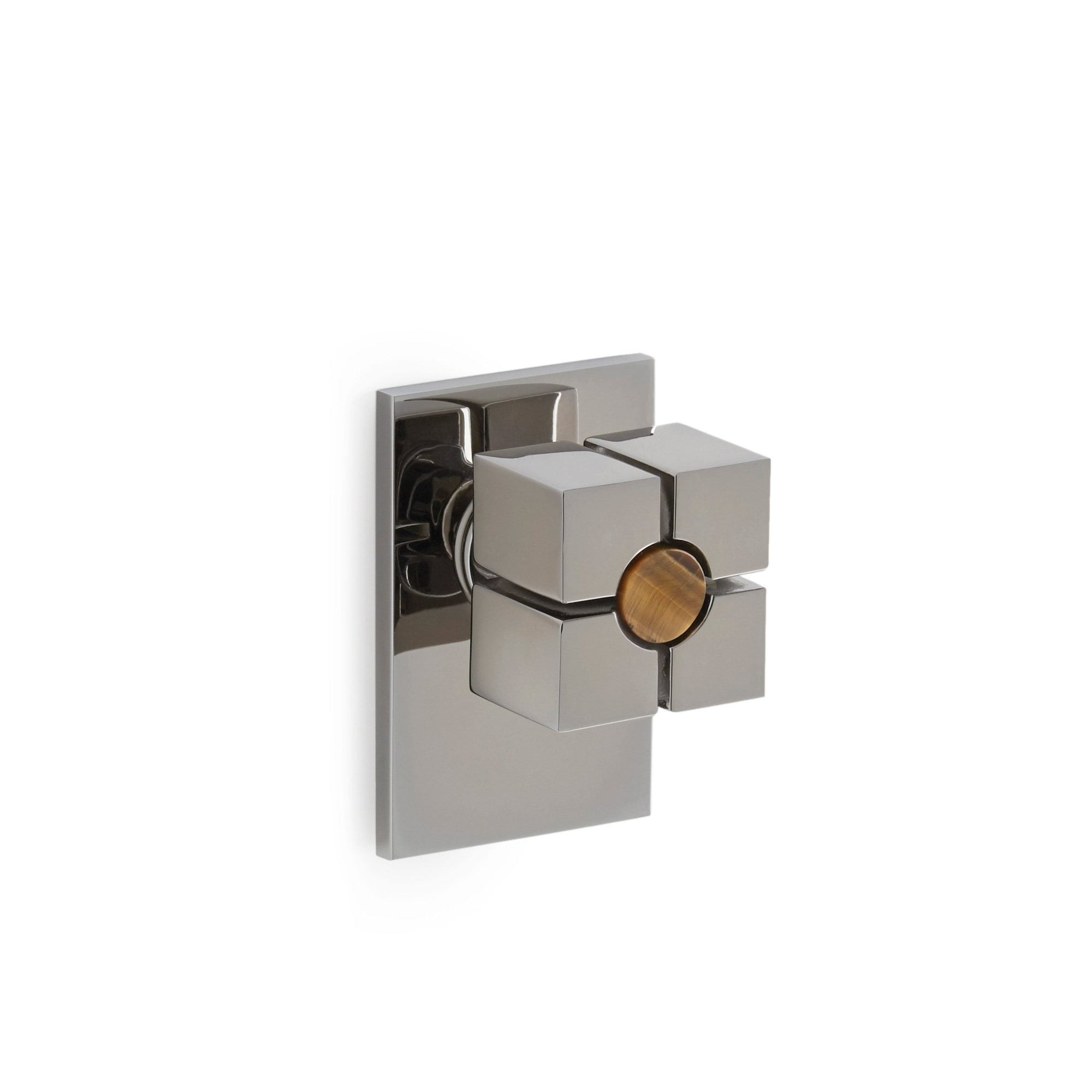 2103DOR-BRTI-CP Sherle Wagner International The Stone Insert Quad Door Knob in Polished Chrome metal finish