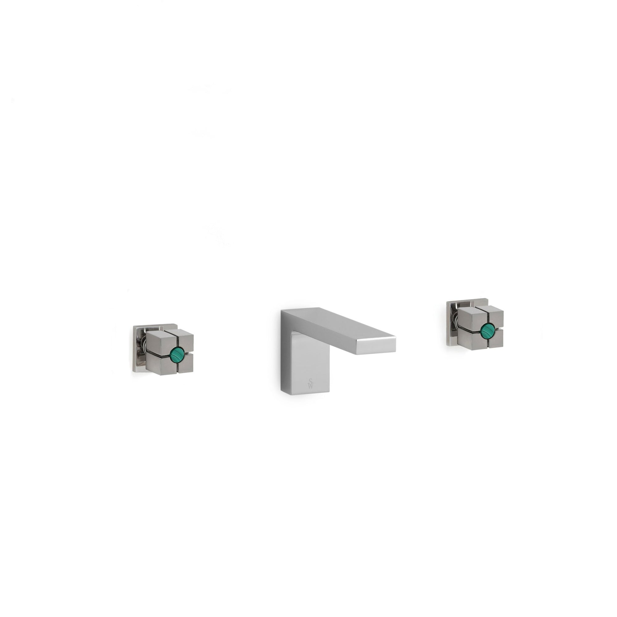 2103WBS101-LE-MALA-CP Sherle Wagner International Modern with Malachite Insert Quad Knob Wall Mount Faucet Set in Polished Chrome metal finish