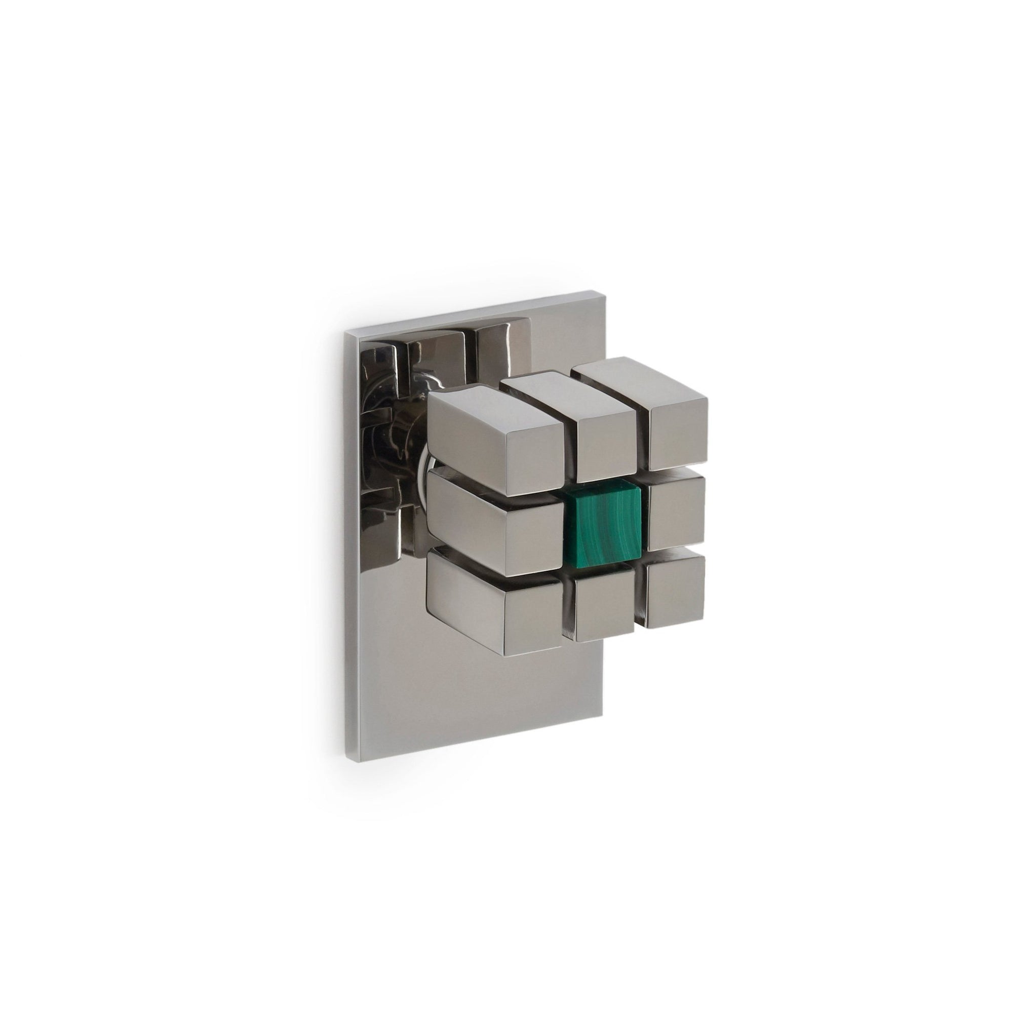 2104DOR-MALA-CP Sherle Wagner International The Stone Insert Novem Door Knob in Polished Chrome metal finish