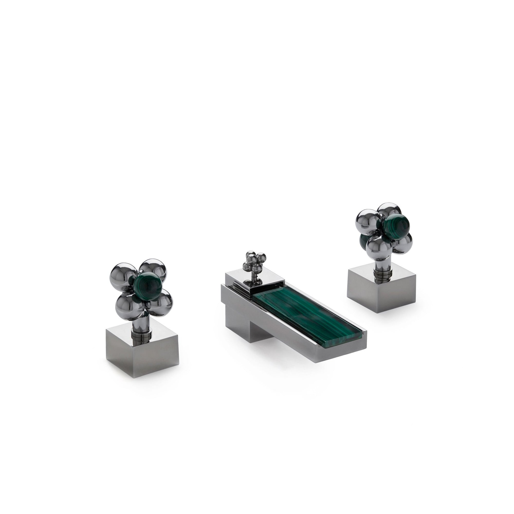 2106BSN102-MALA-CP Sherle Wagner International Apollo with Molecule Knob Faucet Set with Semiprecious Malachite inserts in Polished Chrome metal finish