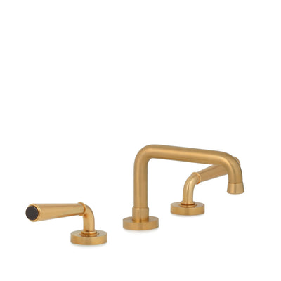 2170BSN806-BLTI-BG Sherle Wagner International Blue Tiger Eye insert Dorian Stone Insert Lever Faucet Set in Burnished Gold metal finish