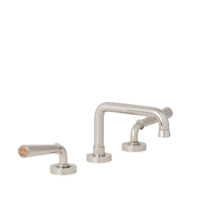 2170BSN806-BROX-HP Sherle Wagner International Brown Onyx insert Dorian Stone Insert Lever Faucet Set in High Polished Platinum metal finish