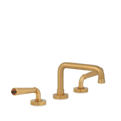 2170BSN806-BRTI-BG Sherle Wagner International Brown Tiger Eye insert Dorian Stone Insert Lever Faucet Set in Burnished Gold metal finish