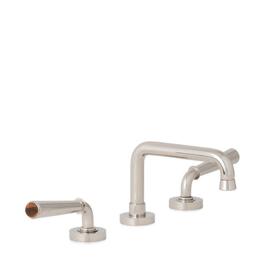 2170BSN806-BRTI-HP Sherle Wagner International Brown Tiger Eye insert Dorian Stone Insert Lever Faucet Set in High Polished Platinum metal finish