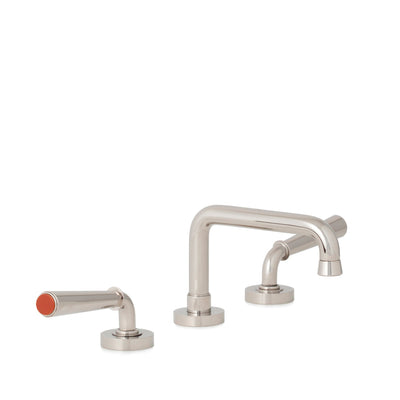 2170BSN806-JASP-HP Sherle Wagner International Jasper insert Dorian Stone Insert Lever Faucet Set in High Polished Platinum metal finish