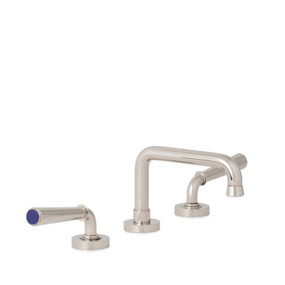 2170BSN806-LAPI-HP Sherle Wagner International Lapis Lazuli insert Dorian Stone Insert Lever Faucet Set in High Polished Platinum metal finish