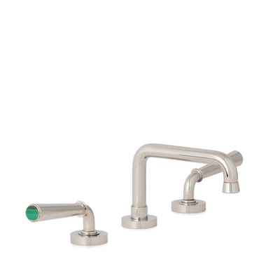 2170BSN806-MALA-HP Sherle Wagner International Malachite insert Dorian Stone Insert Lever Faucet Set in High Polished Platinum metal finish