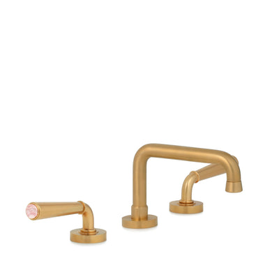 2170BSN806-RSQU-BG Sherle Wagner International Rose Quartz insert Dorian Stone Insert Lever Faucet Set in Burnished Gold metal finish