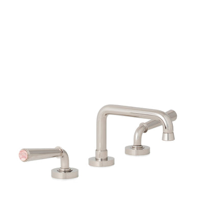 2170BSN806-RSQU-HP Sherle Wagner International Rose Quartz insert Dorian Stone Insert Lever Faucet Set in High Polished Platinum metal finish