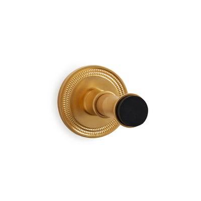 2918-1033BP-GP Sherle Wagner International Baseboard Door Stop with Concentric Circles Back Plate in Gold Plate metal finish