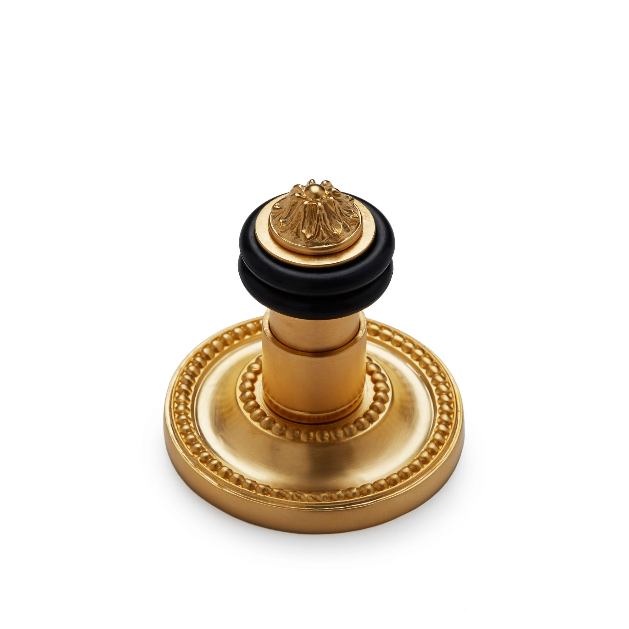 2919-CL-GP Sherle Wagner International Floor Mount Door Stop with Classical Back Plate in Gold Plate metal finish