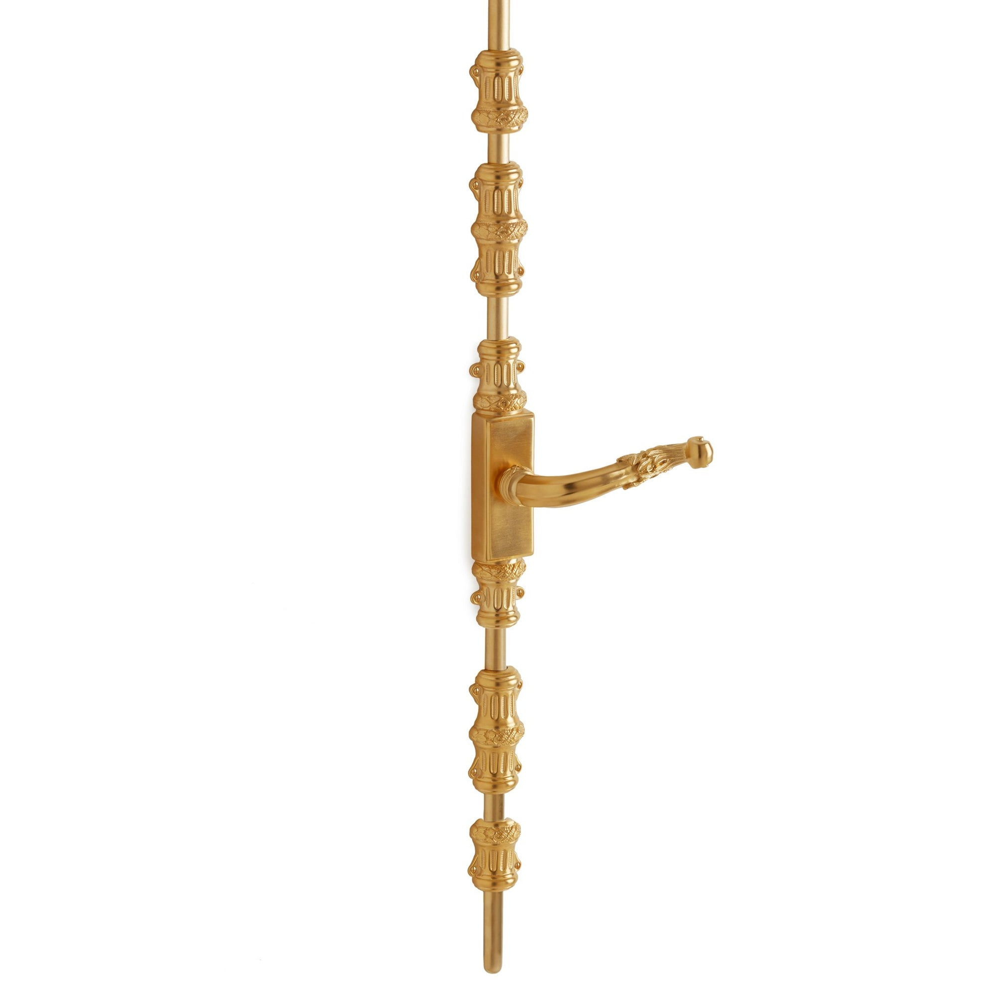 2921-1055DOR-RH-GP Sherle Wagner International Cremone Bolt with Ribbon & Reed Door Lever in Gold Plate metal finish