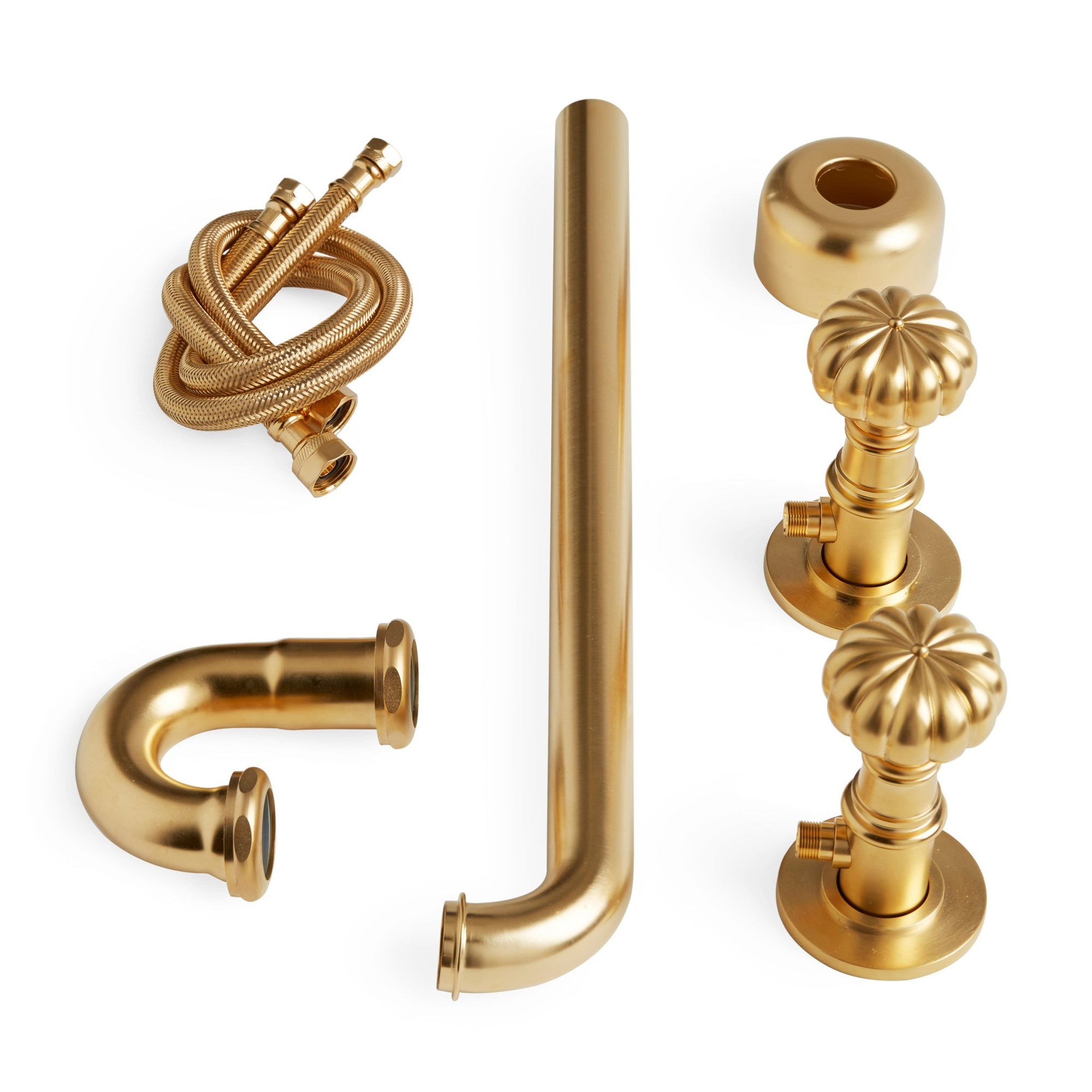 2951-EXT-0910-GP Sherle Wagner International Pair of Melon Knob Shut off Valves with Extended P-Trap in Gold Plate metal finish