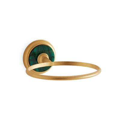 3206-MALA-GP Sherle Wagner International Knurled Soap Dish Holder with Malachite insert in Gold Plate metal finish