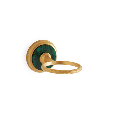 3207-MALA-GP Sherle Wagner International Knurled Tumbler Holder with Malachite insert in Gold Plate metal finish