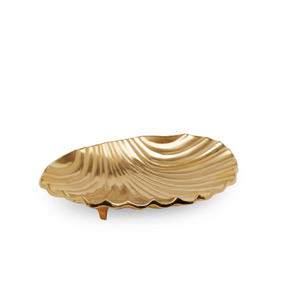 3314-GP Sherle Wagner International Shell Soap Dish Large in Gold Plate