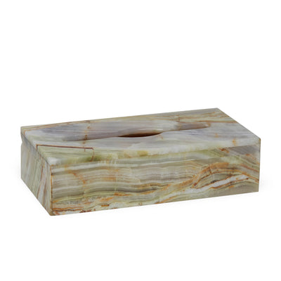 3350-GROX Sherle Wagner International Large Oblong Tissue Box Cover in Green Onyx